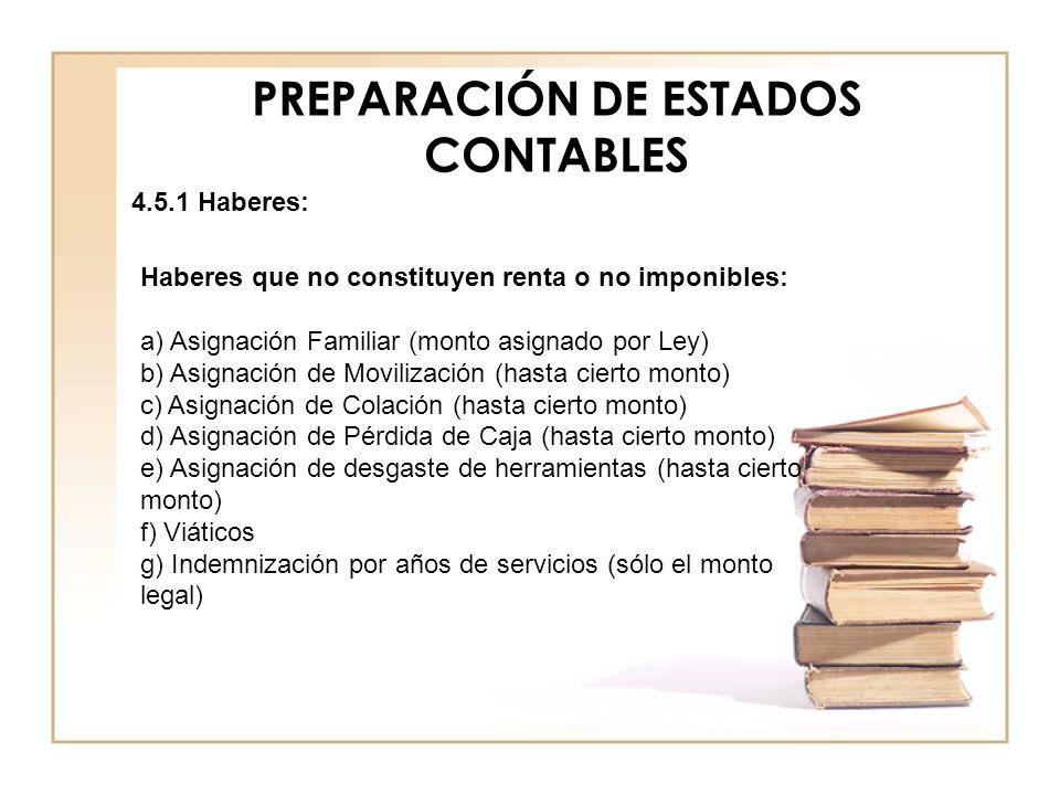 PREPARACIÓN DE ESTADOS CONTABLES 4.5.1 Haberes: Haberes que no constituyen renta o no imponibles: a) Asignación Familiar (monto asignado por Ley) b) A