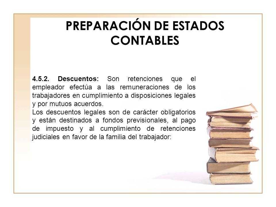 PREPARACIÓN DE ESTADOS CONTABLES 4.5.2. Descuentos: Son retenciones que el empleador efectúa a las remuneraciones de los trabajadores en cumplimiento