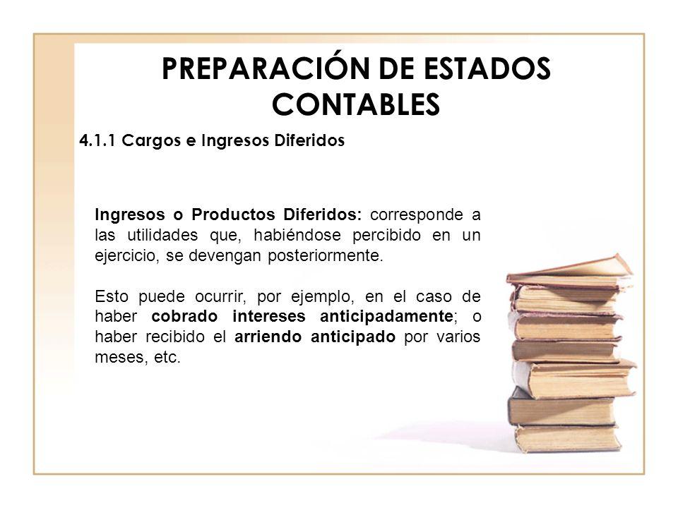 PREPARACIÓN DE ESTADOS CONTABLES 4.1.1 Cargos e Ingresos Diferidos Ingresos o Productos Diferidos: corresponde a las utilidades que, habiéndose percib