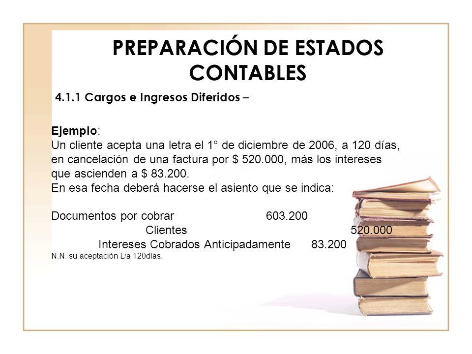 PREPARACIÓN DE ESTADOS CONTABLES 4.1.1 Cargos e Ingresos Diferidos – Ejemplo: Un cliente acepta una letra el 1° de diciembre de 2006, a 120 días, en c