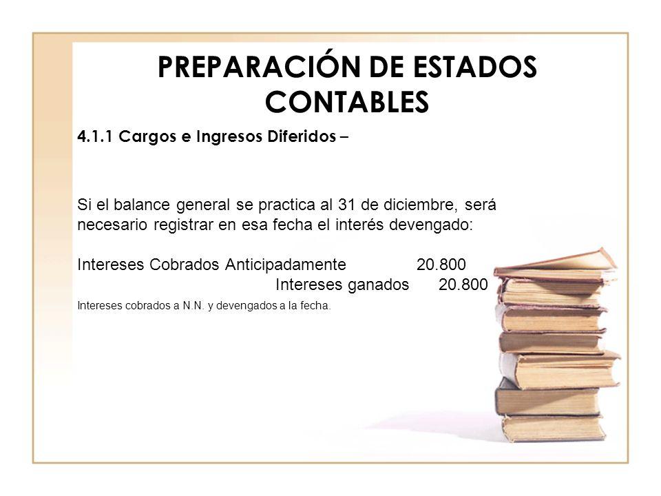 PREPARACIÓN DE ESTADOS CONTABLES 4.1.1 Cargos e Ingresos Diferidos – Si el balance general se practica al 31 de diciembre, será necesario registrar en