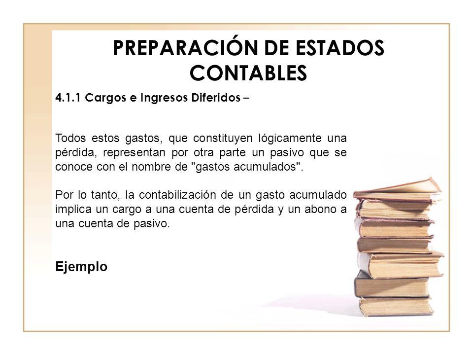 PREPARACIÓN DE ESTADOS CONTABLES 4.1.1 Cargos e Ingresos Diferidos – Todos estos gastos, que constituyen lógicamente una pérdida, representan por otra