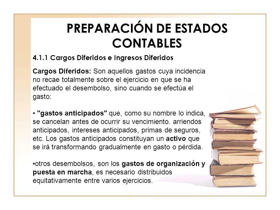 PREPARACIÓN DE ESTADOS CONTABLES 4.1.1 Cargos Diferidos e Ingresos Diferidos Cargos Diferidos: Son aquellos gastos cuya incidencia no recae totalmente