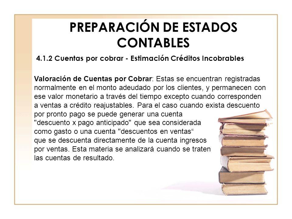 PREPARACIÓN DE ESTADOS CONTABLES 4.1.2 Cuentas por cobrar - Estimación Créditos Incobrables Valoración de Cuentas por Cobrar: Estas se encuentran regi