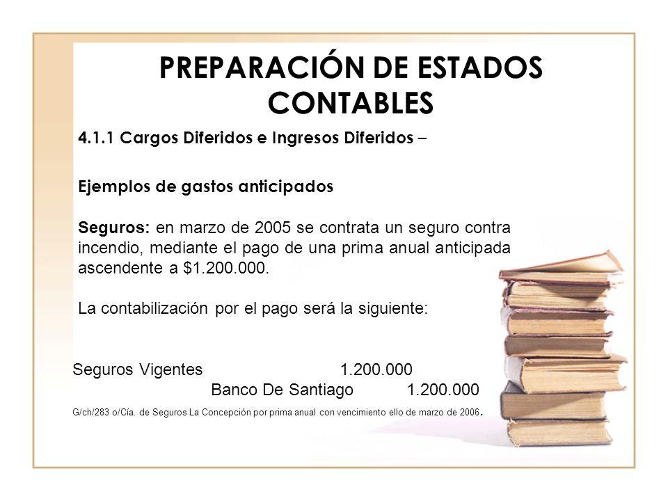 PREPARACIÓN DE ESTADOS CONTABLES 4.1.1 Cargos Diferidos e Ingresos Diferidos – Ejemplos de gastos anticipados Seguros: en marzo de 2005 se contrata un