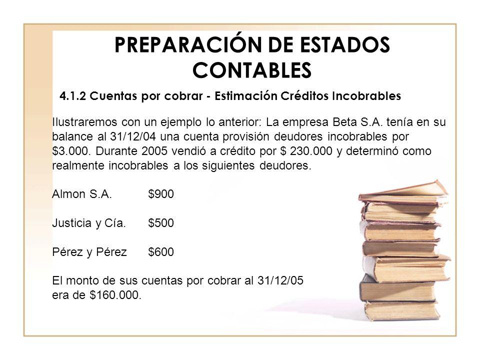PREPARACIÓN DE ESTADOS CONTABLES 4.1.2 Cuentas por cobrar - Estimación Créditos Incobrables Ilustraremos con un ejemplo lo anterior: La empresa Beta S