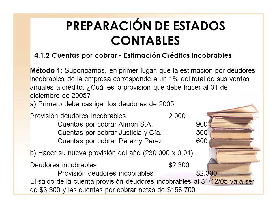 PREPARACIÓN DE ESTADOS CONTABLES 4.1.2 Cuentas por cobrar - Estimación Créditos Incobrables Método 1: Supongamos, en primer lugar, que la estimación p