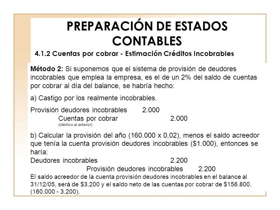 PREPARACIÓN DE ESTADOS CONTABLES 4.1.2 Cuentas por cobrar - Estimación Créditos Incobrables Método 2: Si suponemos que el sistema de provisión de deud