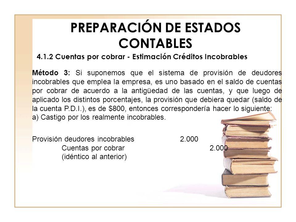 PREPARACIÓN DE ESTADOS CONTABLES 4.1.2 Cuentas por cobrar - Estimación Créditos Incobrables Método 3: Si suponemos que el sistema de provisión de deud