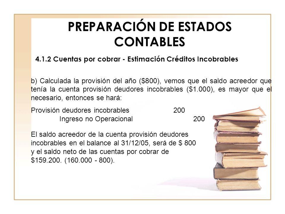 PREPARACIÓN DE ESTADOS CONTABLES 4.1.2 Cuentas por cobrar - Estimación Créditos Incobrables b) Calculada la provisión del año ($800), vemos que el sal