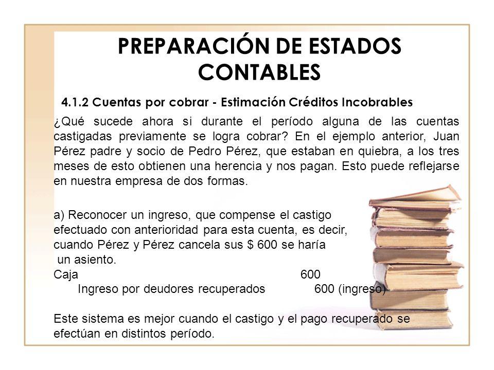 PREPARACIÓN DE ESTADOS CONTABLES 4.1.2 Cuentas por cobrar - Estimación Créditos Incobrables ¿Qué sucede ahora si durante el período alguna de las cuen