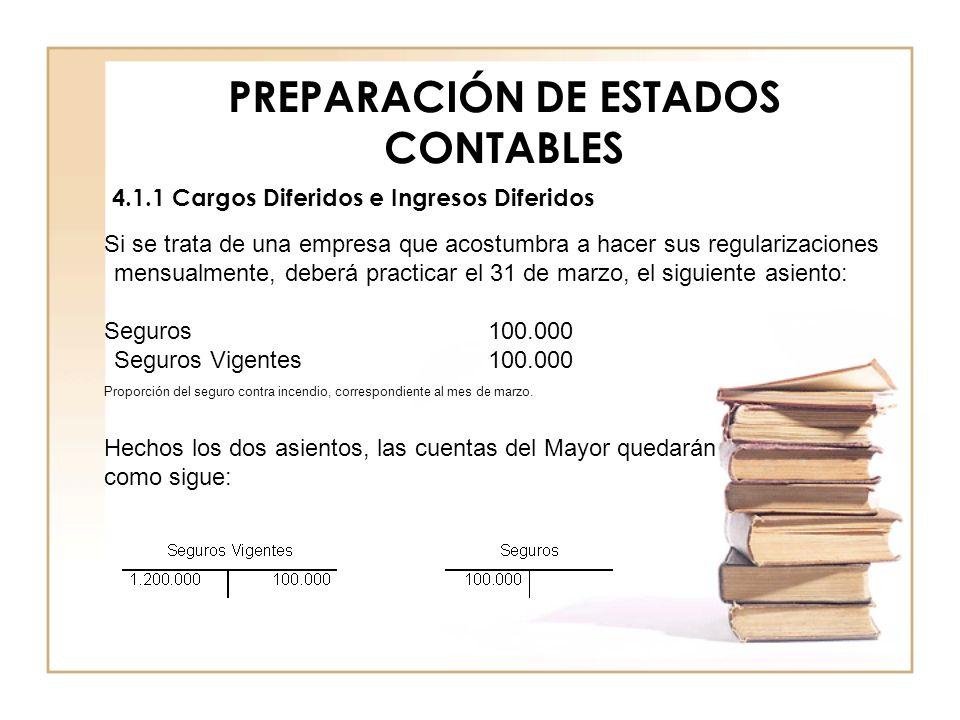PREPARACIÓN DE ESTADOS CONTABLES 4.1.1 Cargos Diferidos e Ingresos Diferidos Si se trata de una empresa que acostumbra a hacer sus regularizaciones me