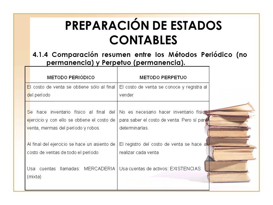 PREPARACIÓN DE ESTADOS CONTABLES 4.1.4 Comparación resumen entre los Métodos Periódico (no permanencia) y Perpetuo (permanencia).