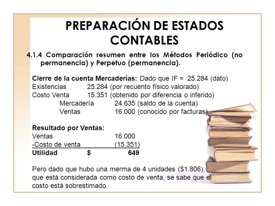 PREPARACIÓN DE ESTADOS CONTABLES 4.1.4 Comparación resumen entre los Métodos Periódico (no permanencia) y Perpetuo (permanencia). Cierre de la cuenta
