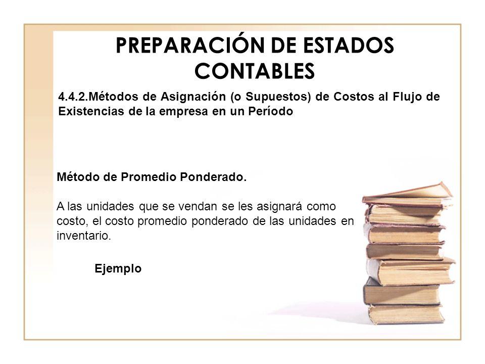 PREPARACIÓN DE ESTADOS CONTABLES 4.4.2.Métodos de Asignación (o Supuestos) de Costos al Flujo de Existencias de la empresa en un Período Método de Pro
