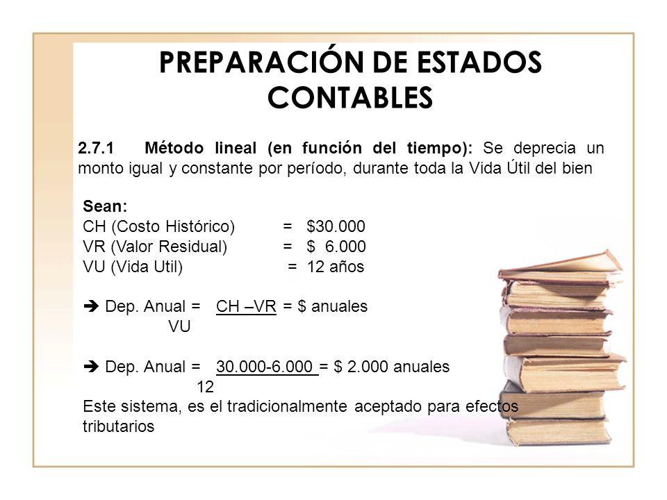 PREPARACIÓN DE ESTADOS CONTABLES Sean: CH (Costo Histórico)= $30.000 VR (Valor Residual) = $ 6.000 VU (Vida Util) = 12 años Dep. Anual =CH –VR= $ anua