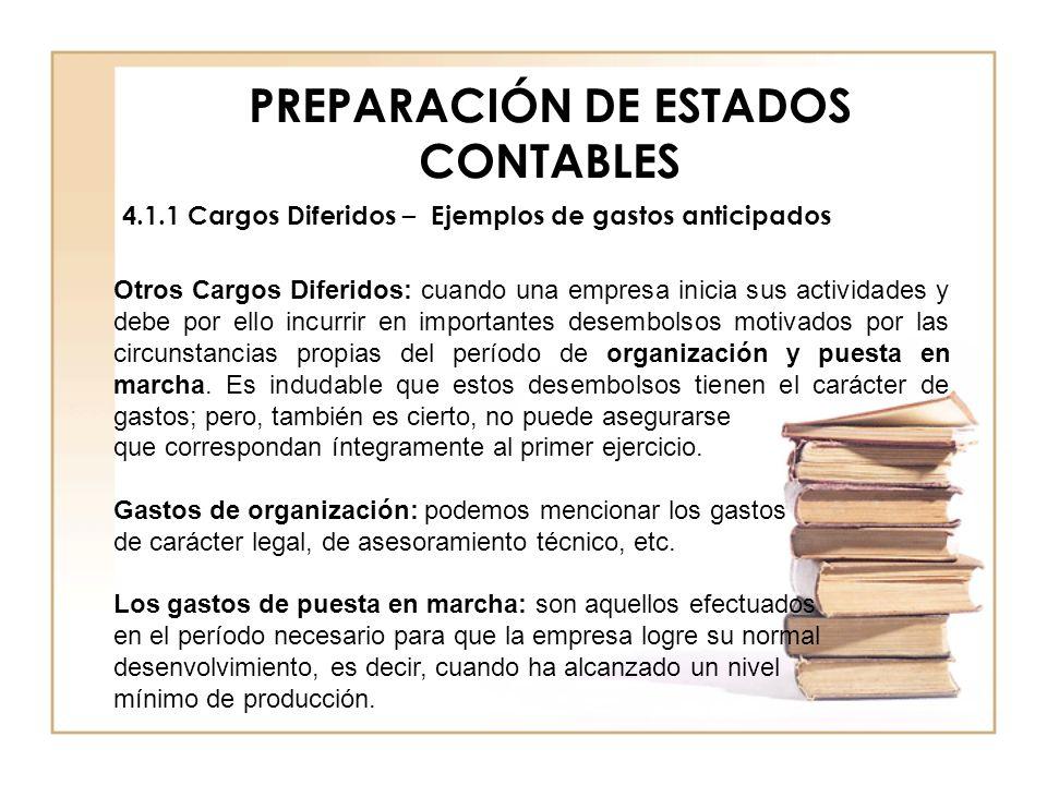 PREPARACIÓN DE ESTADOS CONTABLES 4.1.1 Cargos Diferidos – Ejemplos de gastos anticipados Otros Cargos Diferidos: cuando una empresa inicia sus activid
