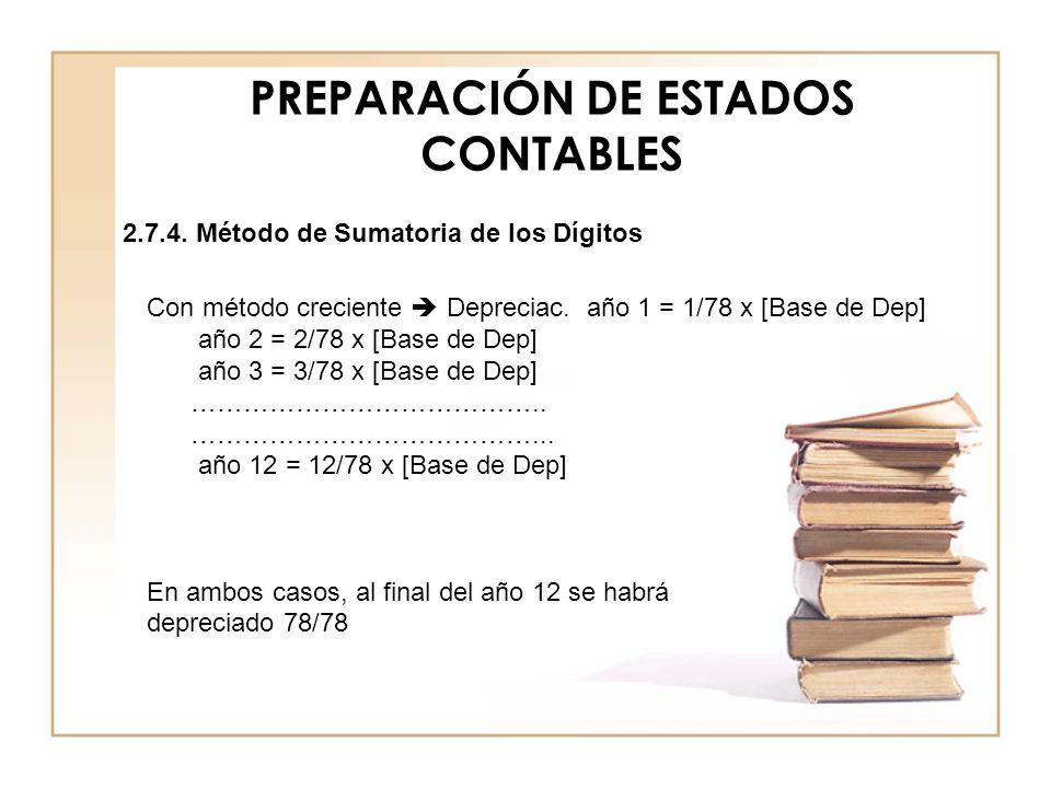PREPARACIÓN DE ESTADOS CONTABLES Con método creciente Depreciac. año 1 = 1/78 x [Base de Dep] año 2 = 2/78 x [Base de Dep] año 3 = 3/78 x [Base de Dep