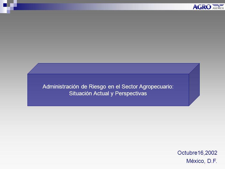 Administración de Riesgo en el Sector Agropecuario: Situación Actual y Perspectivas Octubre16,2002 México, D.F.