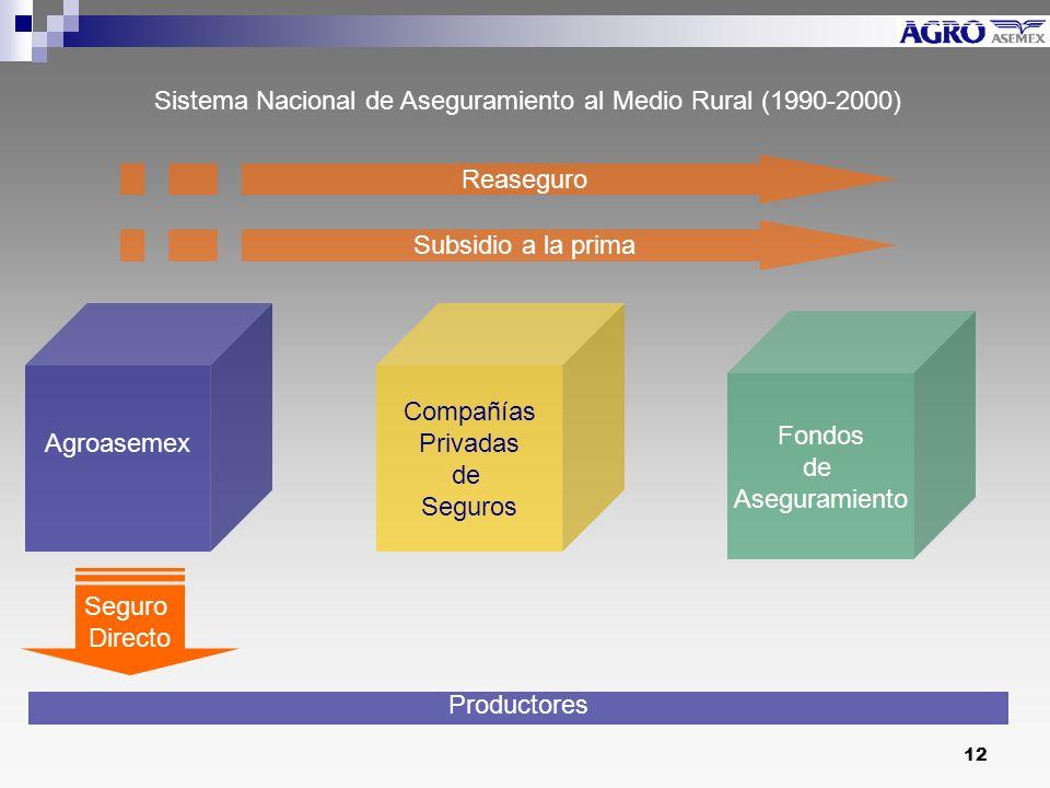12 Compañías Privadas de Seguros Agroasemex Fondos de Aseguramiento Productores Reaseguro Subsidio a la prima Seguro Directo Sistema Nacional de Aseguramiento al Medio Rural (1990-2000)