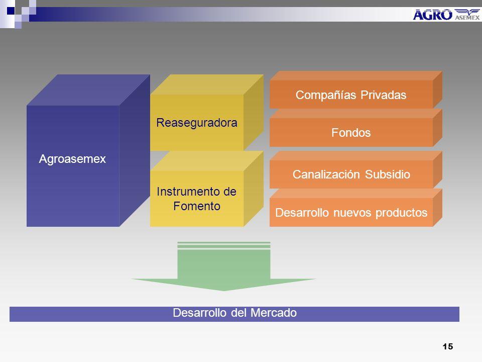 15 Agroasemex Reaseguradora Instrumento de Fomento Compañías Privadas Fondos Canalización Subsidio Desarrollo nuevos productos Desarrollo del Mercado