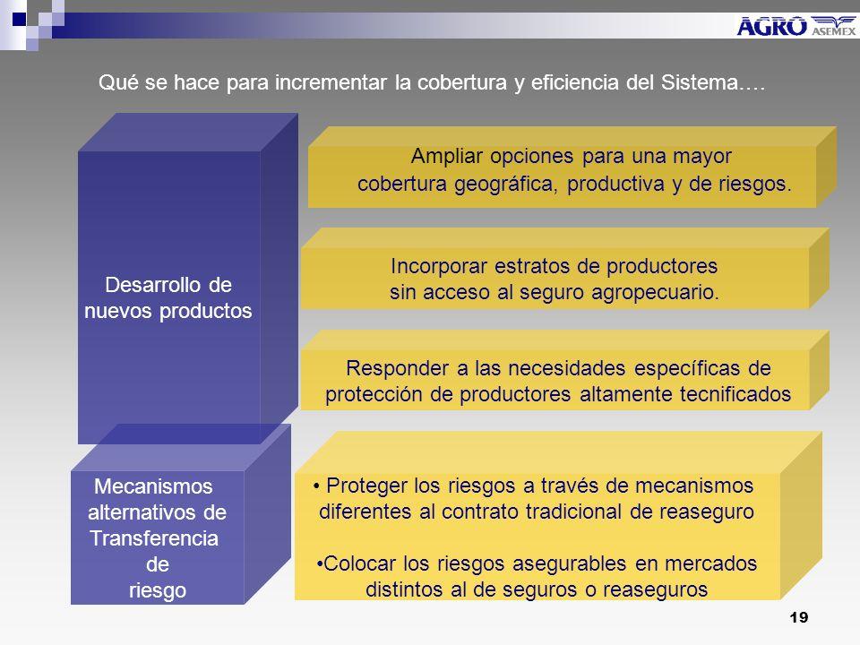 19 Desarrollo de nuevos productos Mecanismos alternativos de Transferencia de riesgo Incorporar estratos de productores sin acceso al seguro agropecuario.