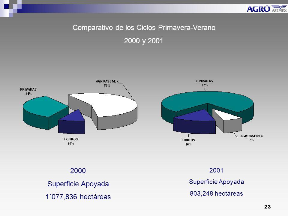 23 Comparativo de los Ciclos Primavera-Verano 2000 y 2001 2000 Superficie Apoyada 1´077,836 hectáreas 2001 Superficie Apoyada 803,248 hectáreas
