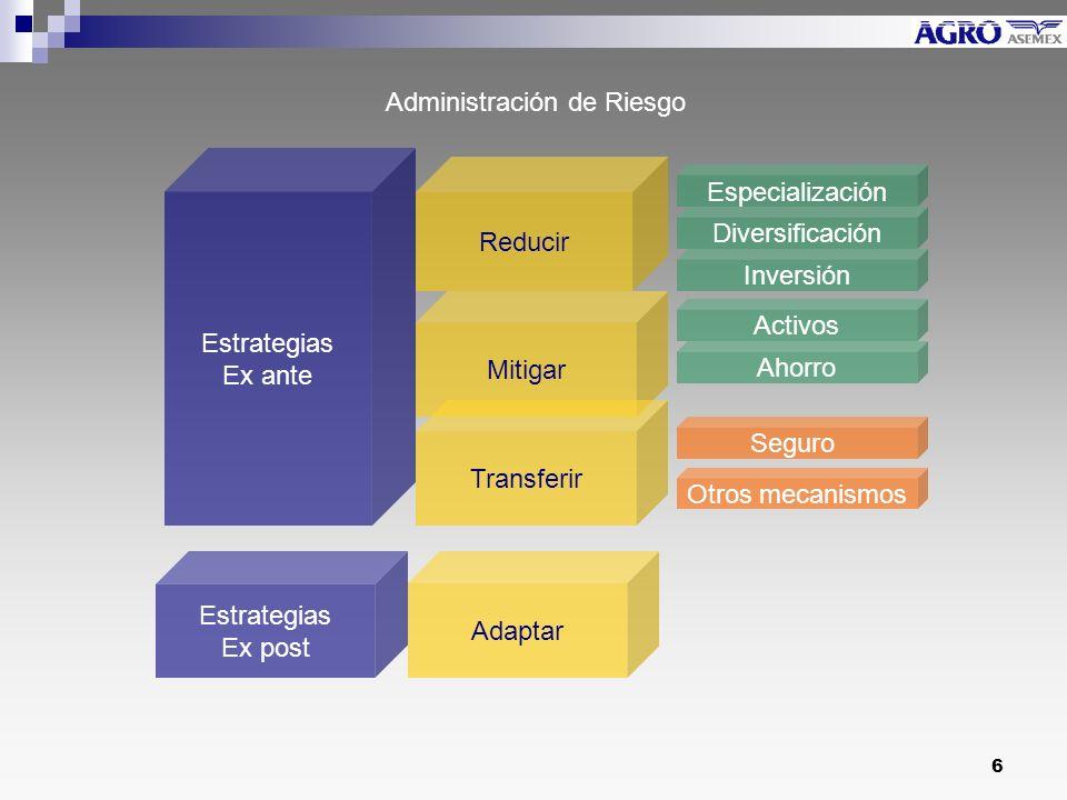 6 Reducir Estrategias Ex ante Estrategias Ex post Mitigar Transferir Adaptar Especialización Diversificación Inversión Activos Ahorro Seguro Administración de Riesgo Otros mecanismos