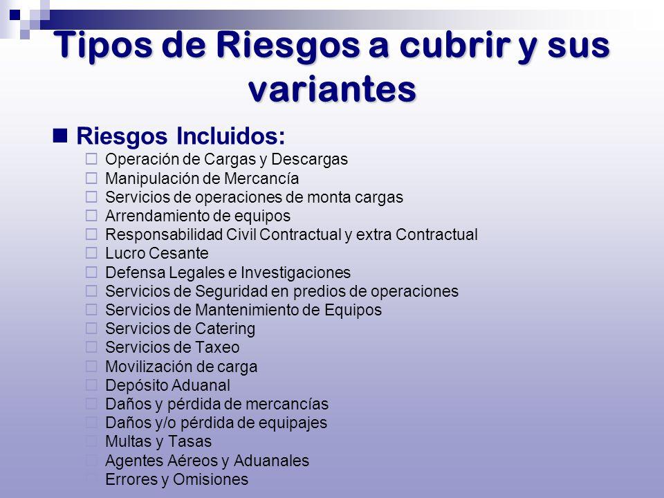 Tipos de Riesgos a cubrir y sus variantes Riesgos Incluidos: Operación de Cargas y Descargas Manipulación de Mercancía Servicios de operaciones de mon