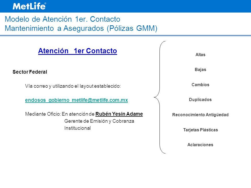Modelo de Atención 1er. Contacto Mantenimiento a Asegurados (Pólizas GMM) Sector Federal Vía correo y utilizando el layout establecido: endosos_gobier