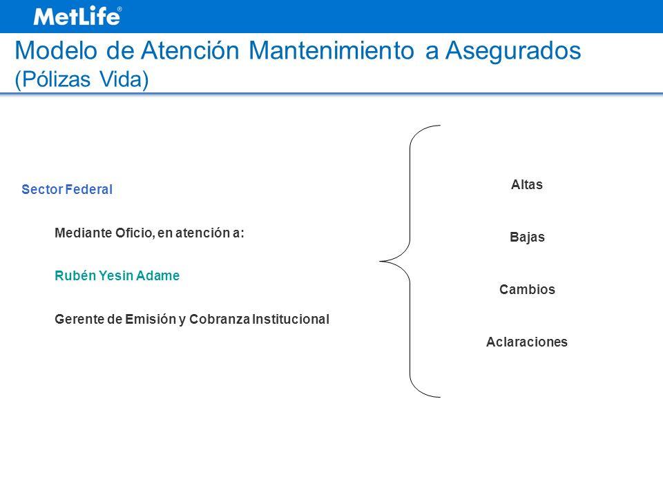 Modelo de Atención Mantenimiento a Asegurados (Pólizas Vida) Sector Federal Mediante Oficio, en atención a: Rubén Yesin Adame Gerente de Emisión y Cob