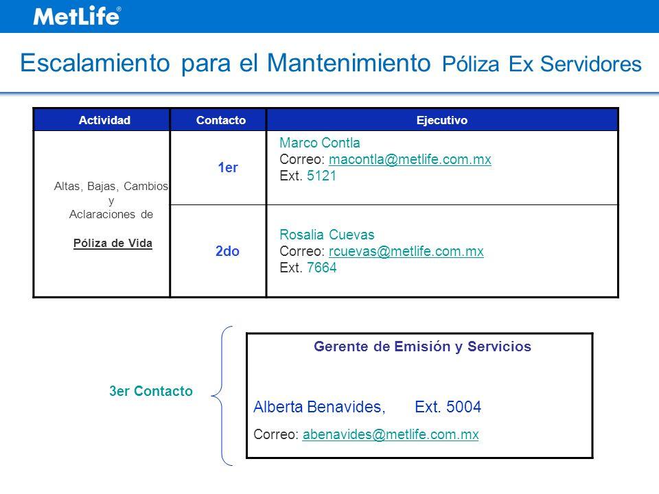 ActividadContactoEjecutivo Altas, Bajas, Cambios y Aclaraciones de Póliza de Vida 1er Marco Contla Correo: macontla@metlife.com.mx Ext. 5121 2do Rosal