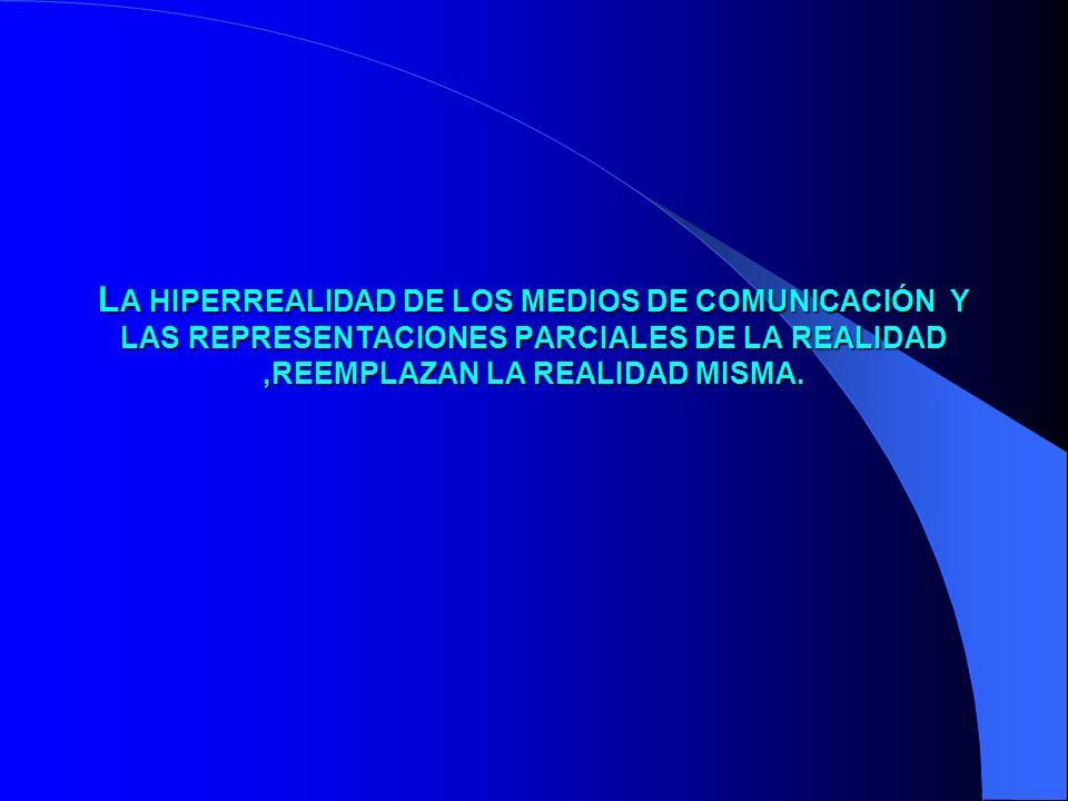 L A L A HIPERREALIDAD DE LOS MEDIOS DE COMUNICACIÓN Y LAS REPRESENTACIONES PARCIALES DE LA REALIDAD,REEMPLAZAN LA REALIDAD MISMA.