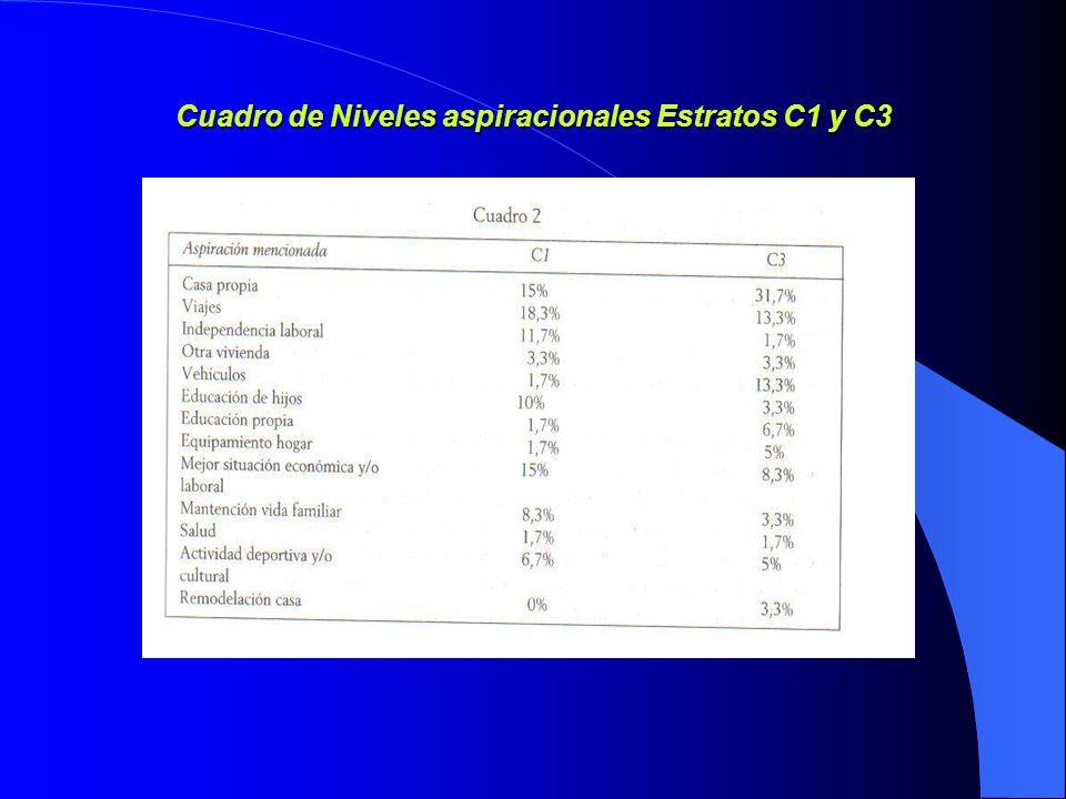 Cuadro de Niveles aspiracionales Estratos C1 y C3