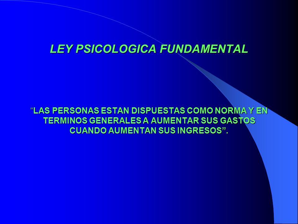 LEY PSICOLOGICA FUNDAMENTAL LASLAS PERSONAS ESTAN DISPUESTAS COMO NORMA Y EN TERMINOS GENERALES A AUMENTAR SUS GASTOS CUANDO AUMENTAN SUS INGRESOS.