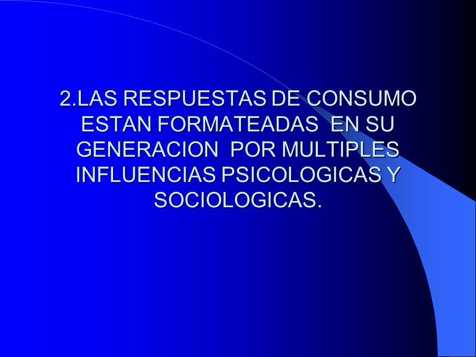 2.LAS RESPUESTAS DE CONSUMO ESTAN FORMATEADAS EN SU GENERACION POR MULTIPLES INFLUENCIAS PSICOLOGICAS Y SOCIOLOGICAS.