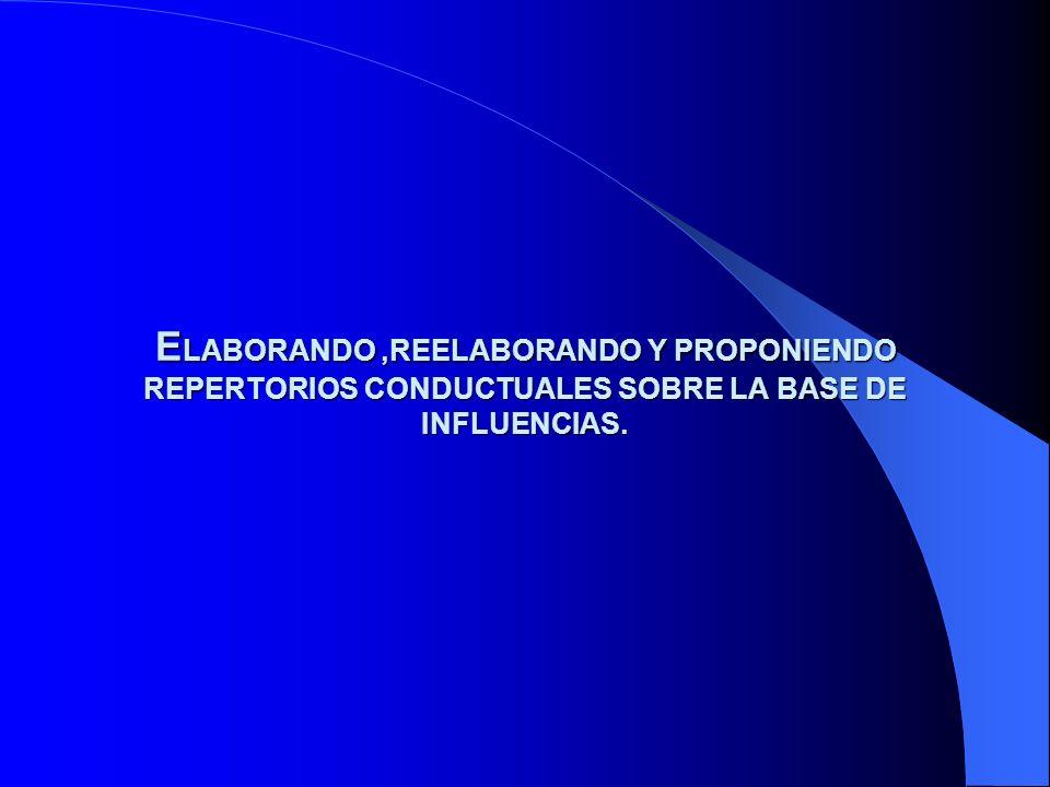 E LABORANDO,REELABORANDO Y PROPONIENDO REPERTORIOS CONDUCTUALES SOBRE LA BASE DE INFLUENCIAS.