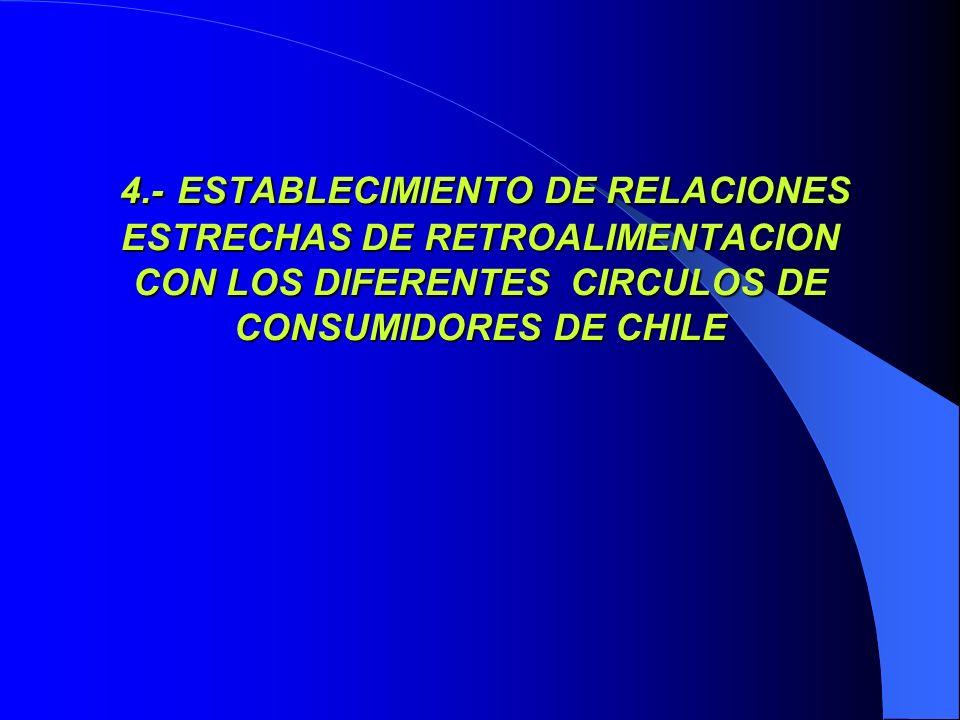 4.- ESTABLECIMIENTO DE RELACIONES ESTRECHAS DE RETROALIMENTACION CON LOS DIFERENTES CIRCULOS DE CONSUMIDORES DE CHILE 4.- ESTABLECIMIENTO DE RELACIONE