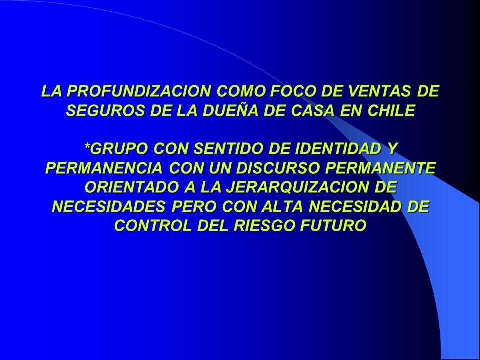 LA PROFUNDIZACION COMO FOCO DE VENTAS DE SEGUROS DE LA DUEÑA DE CASA EN CHILE *GRUPO CON SENTIDO DE IDENTIDAD Y PERMANENCIA CON UN DISCURSO PERMANENTE