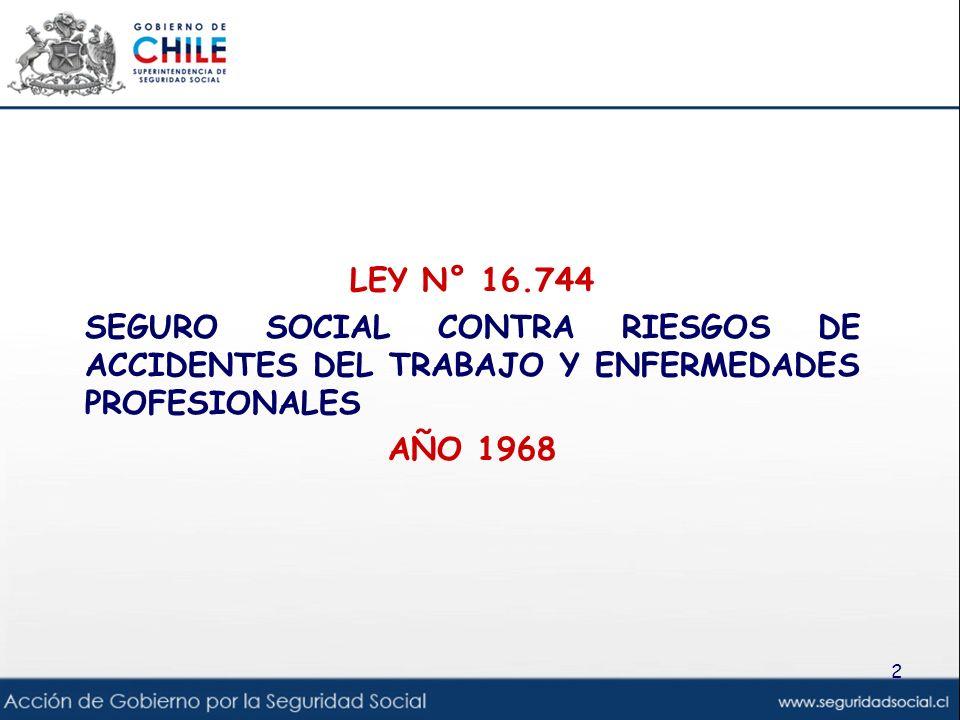 LEY N° 16.744 SEGURO SOCIAL CONTRA RIESGOS DE ACCIDENTES DEL TRABAJO Y ENFERMEDADES PROFESIONALES AÑO 1968 2