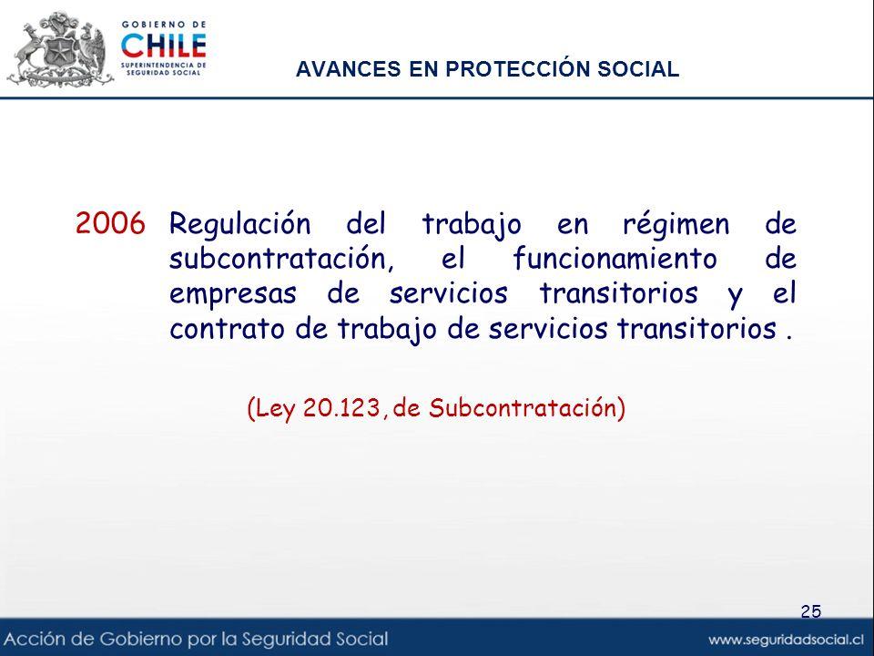 AVANCES EN PROTECCIÓN SOCIAL 2006Regulación del trabajo en régimen de subcontratación, el funcionamiento de empresas de servicios transitorios y el co