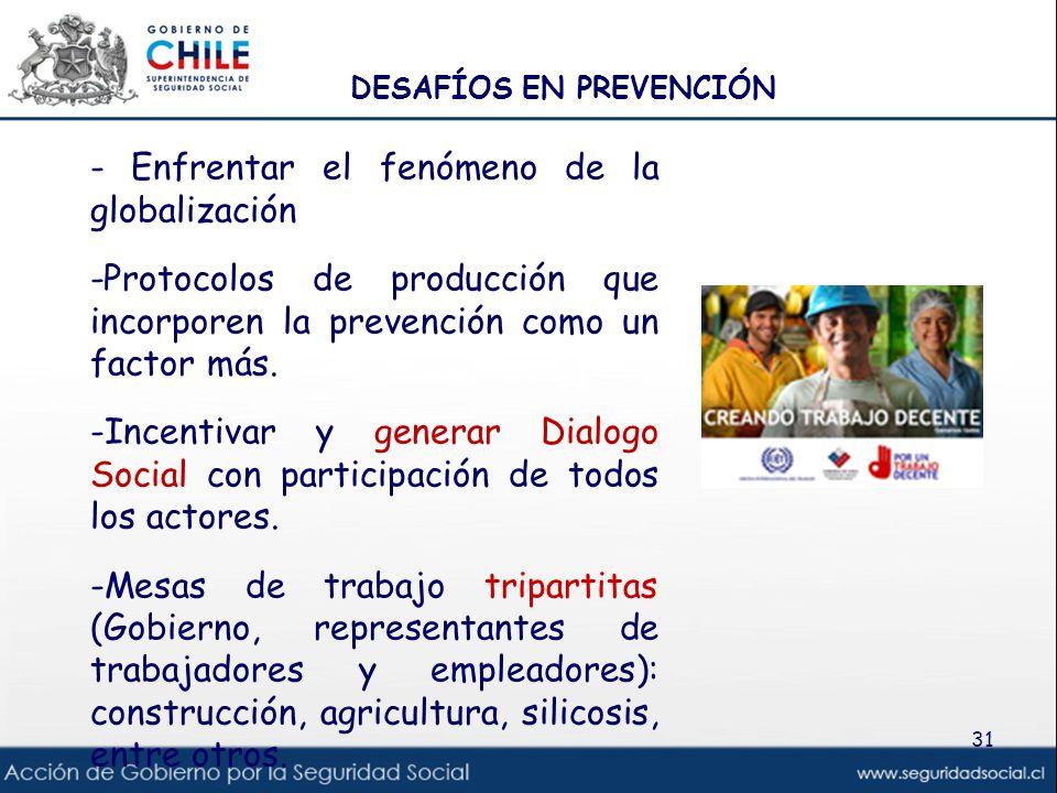 DESAFÍOS EN PREVENCIÓN - Enfrentar el fenómeno de la globalización -Protocolos de producción que incorporen la prevención como un factor más. -Incenti