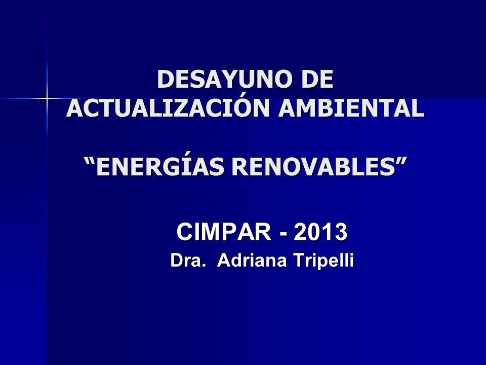 CIMPAR - 2013 Dra. Adriana Tripelli DESAYUNO DE ACTUALIZACIÓN AMBIENTAL ENERGÍAS RENOVABLES