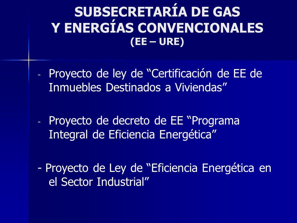 SUBSECRETARÍA DE GAS Y ENERGÍAS CONVENCIONALES (EE – URE) - - Proyecto de ley de Certificación de EE de Inmuebles Destinados a Viviendas - - Proyecto