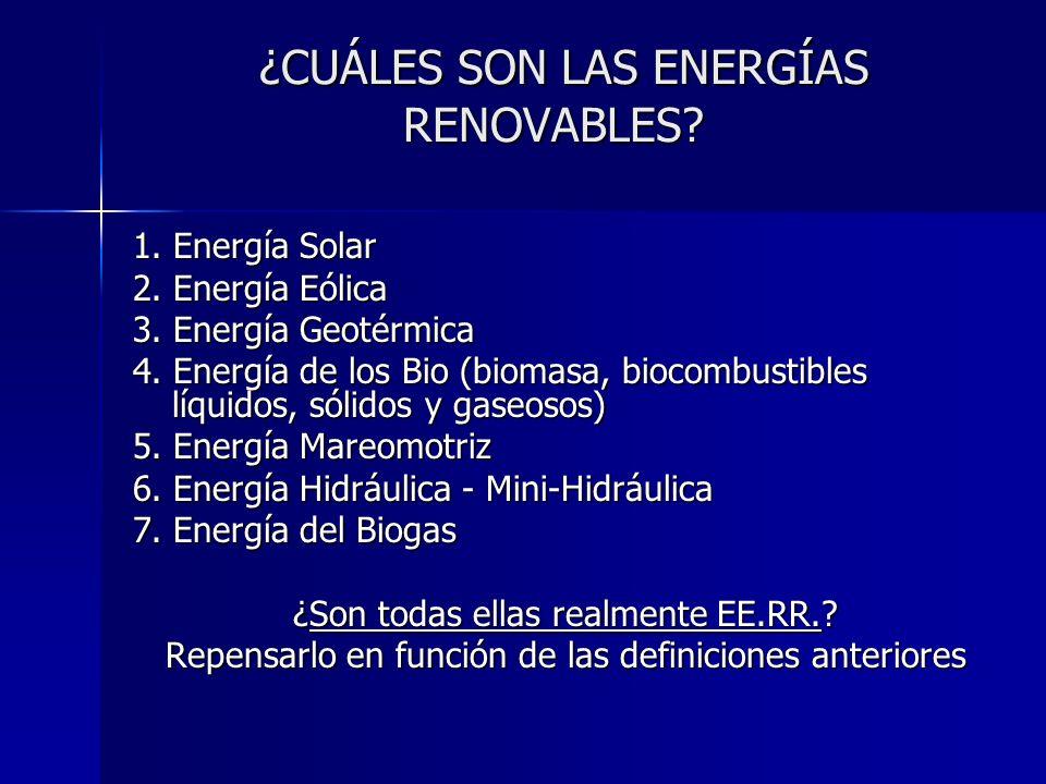 ¿CUÁLES SON LAS ENERGÍAS RENOVABLES? ¿CUÁLES SON LAS ENERGÍAS RENOVABLES? 1. Energía Solar 2. Energía Eólica 3. Energía Geotérmica 4. Energía de los B