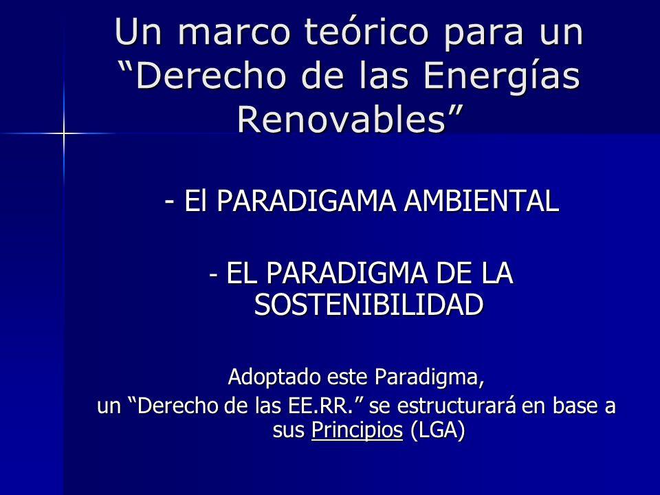 Un marco teórico para un Derecho de las Energías Renovables - El PARADIGAMA AMBIENTAL - El PARADIGAMA AMBIENTAL - EL PARADIGMA DE LA SOSTENIBILIDAD -
