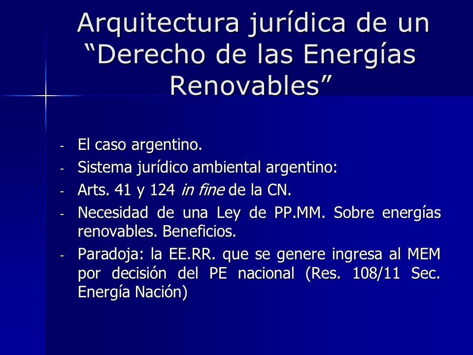 Arquitectura jurídica de un Derecho de las Energías Renovables Arquitectura jurídica de un Derecho de las Energías Renovables - El caso argentino. - S