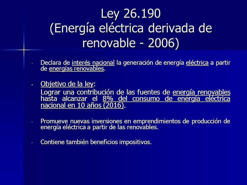 Ley 26.190 (Energía eléctrica derivada de renovable - 2006) - Declara de interés nacional la generación de energía eléctrica a partir de energías reno