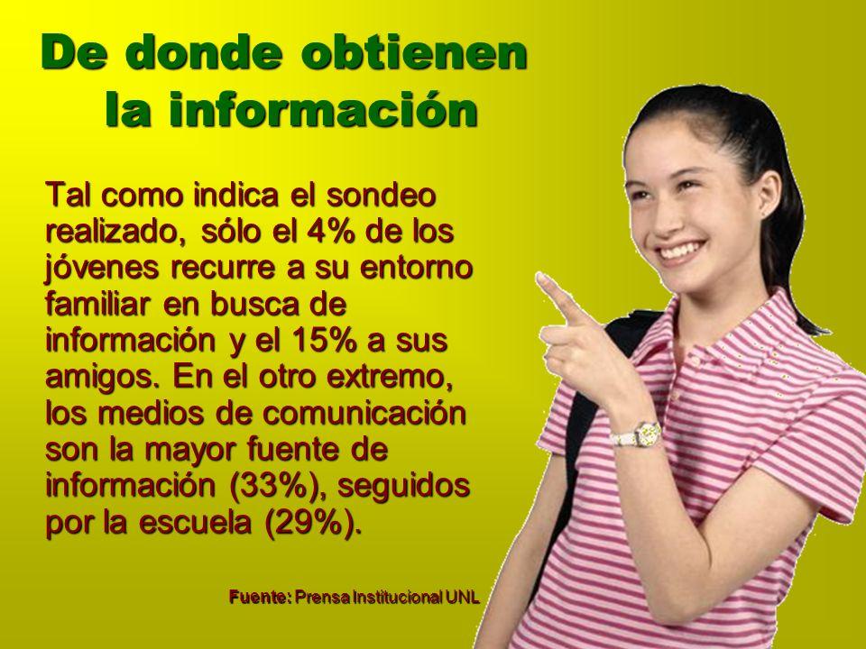 De donde obtienen la información Tal como indica el sondeo realizado, sólo el 4% de los jóvenes recurre a su entorno familiar en busca de información y el 15% a sus amigos.