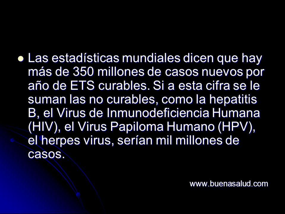 Las estadísticas mundiales dicen que hay más de 350 millones de casos nuevos por año de ETS curables.
